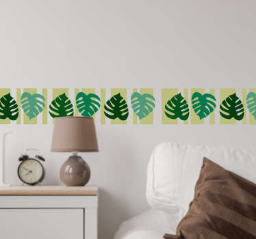 Vibrant border wall sticker showing Monstera Deliciosa leaves from our plant wall stickers collection.