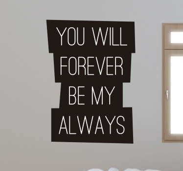 Are you struggling for gift ideas for valentines day or your anniversary? We've got you covered with this romantic wall sticker.