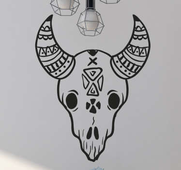 Decorate your home with this unique wall sticker. The design consists of a skull of an animal with horns. We use a special adhesive film.