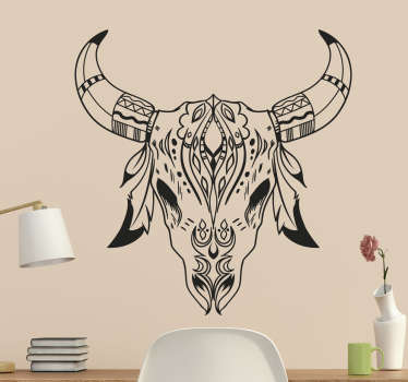 Decorative home wall sticker of an animal skull with horn. It is self adhesive and easy to apply on flat surface. Available in any size required.