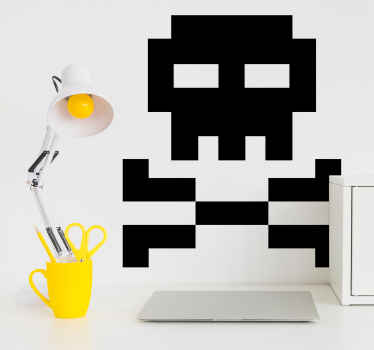 An original wall sticker design of a skull and bones in pixel form. A perfect decoration for gamers and IT geeks.