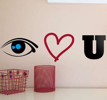 Muursticker Eye Hart U