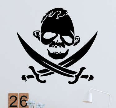 If you're a fan of retro 80s cinema, this decorative wall sticker featuring a skull and crossbones pirate symbol with a twist is the perfect addition