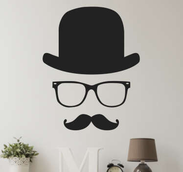 Unique wall sticker decoration that consists of an invisible gentleman. The gentleman decal features the classic glasses, top hat and moustache.