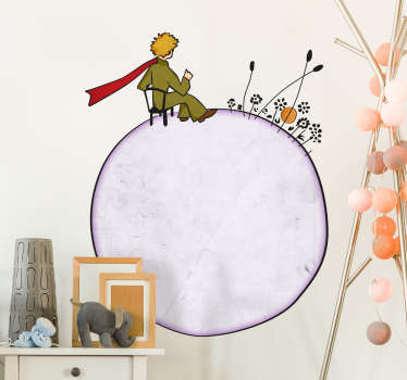 Sticker pour les enfants avec le personnage Le Petit Prince sur son propre monde, comme la crèche ou la chambre de bébé.
