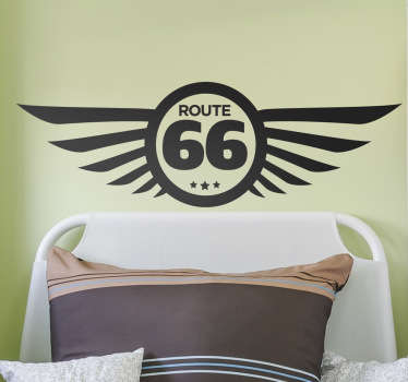 Check out this awesome motor wall sticker that has a route 66 sign on it. You can get it in 50 colors and different sizes.