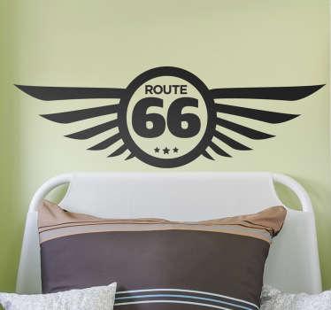 Muursticker logo Route 66 vleugels
