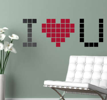 I Love You Pixel Wall Sticker