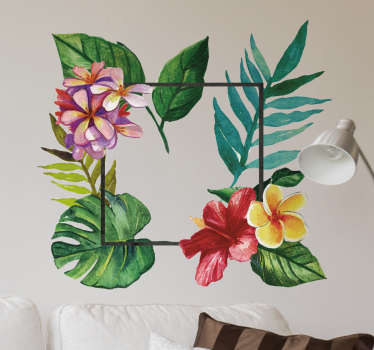 Tropický květinový rámeček obtisk
