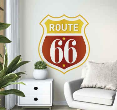 Naklejka z rysunkiem retro Route 66