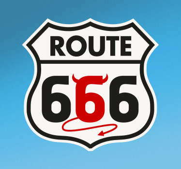 Road sign vinyl decal of Route 66 devil. A nice decoration for any flat surface to flag sign. It is available in any required size.