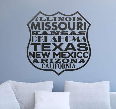 Sticker décoratif pour les amateurs d'aventure sur la route, avec la silhouette caractéristique de la route 66 avec les Etats traversés.