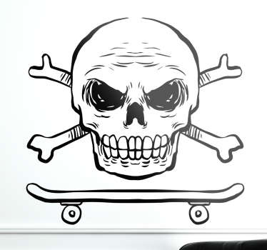 Skater Skull and Crossbones Wall Sticker