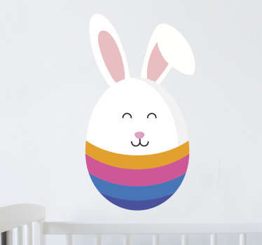 An Easter wall sticker for children. The Easter decal consists of a multi-coloured Easter egg in which the top has been replaced by the Easter Bunny.