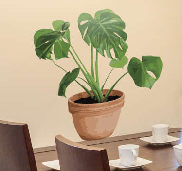 Vinilo maceta monstera deliciosa