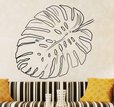 Dieses Wandtattoo zeigt das stilisierte Blatt einer Palme. Es ist ohne Füllung oder Hintergrund und passt sich so der Farbe Ihrer Wand an.