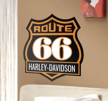 Muursticker Route 66 Harley Davidson