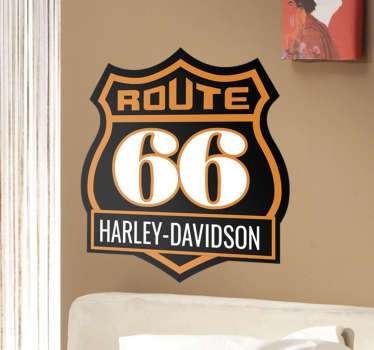 Vinilo Ruta 66 Harley Davidson