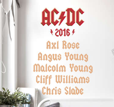 Music Sticker. The ACDC line-up for 2016, a beautiful and original wall decoration for all ACDC fans.