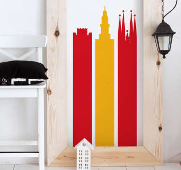 Vinilo bandera de España monumentos
