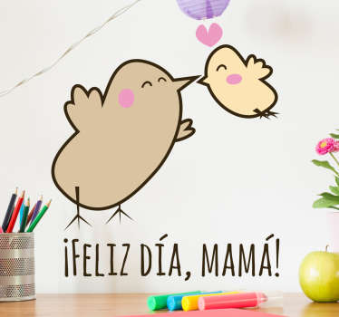 En este sticker aparecen representados un pájaro y su cría y un texto de felicitación en la parte inferior.