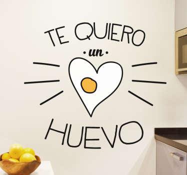 Vinilos divertidos para darle un toque desenfadado por ejemplo a tu cocina. Una romántica declaración de amor pero amena y alegre.