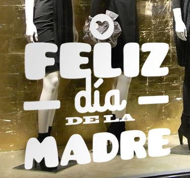 """Vinilo texto con la palabra """"Feliz día de la madre"""" disponible en más de cincuenta colores mate"""