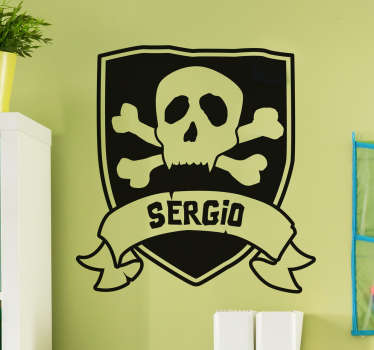 Check out this awesome kids wall decal that has a pirate on a shield on it. You can order it in 50 colors and custom the size!