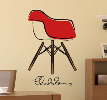 Come take a look at our gorgeous art wall sticker that has an Eames chair on it. We have discounts available on the website.