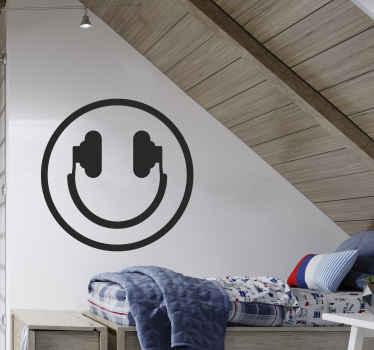 Muursticker muziek smiley