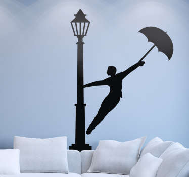Vinilo cantando bajo la lluvia silueta