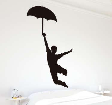 Muursticker meevliegen met paraplu