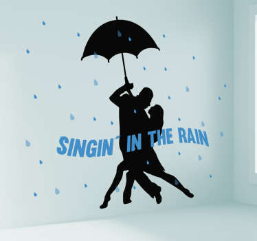 Beautify the home space with this amazing Hollywood wall sticker featured with couple singing in the rain under an umbrella.