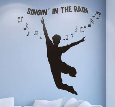 A vinyl wall sticker depicting the silhouette of a man jumping with joy with the text: '' Singin 'in the rain' 'and various notes around!