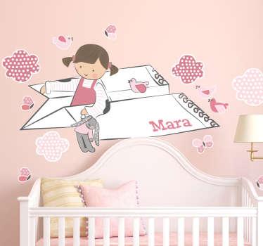 紙飛行機を持つ小さな女の子とテディベアの女の子を描いた素晴らしいイラストが描かれたウォールステッカー!