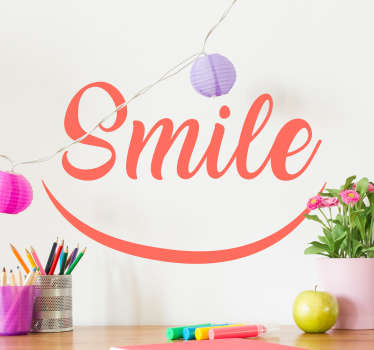 Positive text wall decal presenting the text 'Smile' with a smile will improve your mood every day after waking up. Available in over 50 colours!