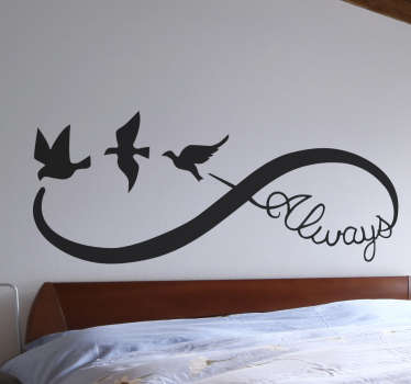 A beautiful infinity wall sticker to symbolise a love that will last forever. Perfect as a gift to a partner or other loved one.