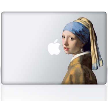 Sticker ordinateur tableau jeune fille à la perle