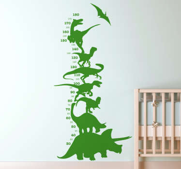 Decorative meter height chart wall sticker for kids featured with different dinosaurs. The design is available in different colour options.