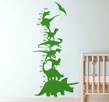 Naklejka miarka wzrostu dinozaury
