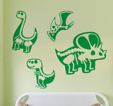 Personalizza la cameretta o la sala dei giochi del tuo bambino con questi adesivi raffiguranti la sagoma di alcuni dinosauri.