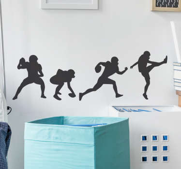 This wall sticker is perfect for anybody who is fan of this great American sport. It has the football players in different positions ready to play.