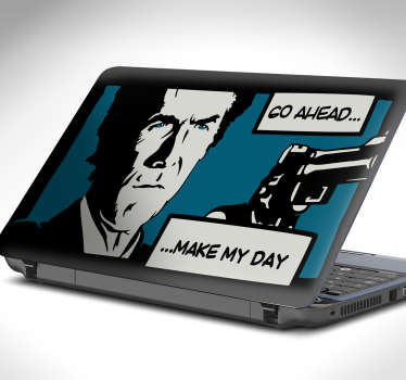 "Vinilos PC con viñeta de una escena de la película del inspector Harry ""Dirty Harry"" Callahan con los textos ""Go ahead… Make my day""."