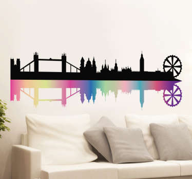 Decorative wall sticker with the panorama of London, along with the most important landmarks of the capital of Great Britain. Skyline of London!