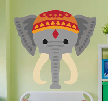 Vinilo decorativo infantil de un elefante indio para decorar la habitación de los más pequeños del hogar. Un animal salvaje con un divertido diseño.