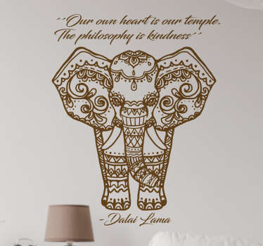 "Vinilo elefante que muestra la ilustración de un paquidermo con motivos tibetanos y la frase ""Our own heart is our temple. The philosophy is kindness"""