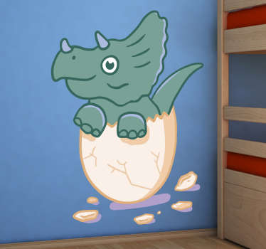 Illustrative kids wall art decal with the design of a baby dinosaur in an egg shell. We have the product in any customisable size.