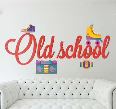 wanddecoratie Old schools 80´s