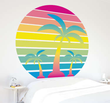 Decorative nature sticker sunset 80s. Enjoy a retro atmosphere with this colorful and original sticker. It will remind you of good  summer times!