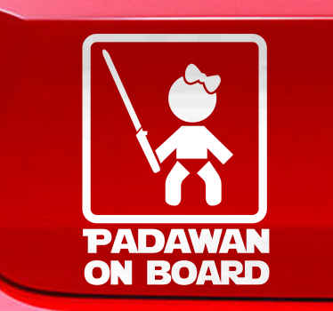 "This baby on board sticker with the saying ""Padawan on Board"" not only makes the heart of a parent beat faster, but also that of any Star Wars fan!"